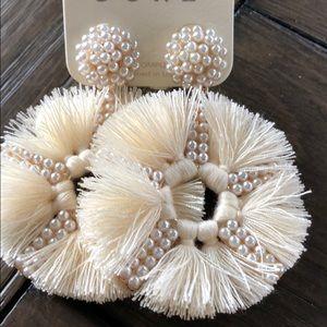 Fan Fringe Pearl Bead Cream Earrings